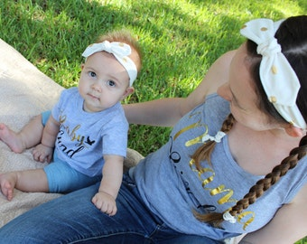 Top Knot Baby Headband - Mommy and Me Headbands - Matching Mother Daughter - Knotted Headband - Gold Polka Dot Headband - Baby Photo Outfit