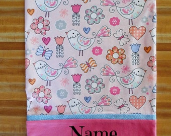 Girls Nature Pillowcase, Novelty Pillowcase, Bird Pillowcase, Embroidered, Monogrammed, Personalized, Travel Pillowcase, Toddler Pillowcase