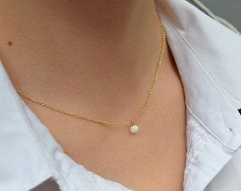 OPAL NECKLACE // Dot Necklace Opal - Opal Ball Necklace - Single Bead Necklace - White Opal Bead Necklace - Opal Charm Necklace