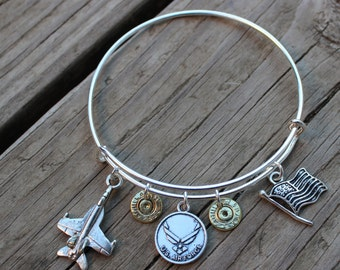 Handmade Support Our Troops Air Force (style 2) AR15 5.56 Charm Bullet Bangle Bullet Bracelet Silver Military Air Force Wife Air Force Mom