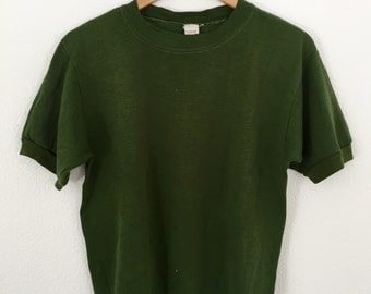 1960s / 1970's Vintage Green Short Sleeve Sweatshirt