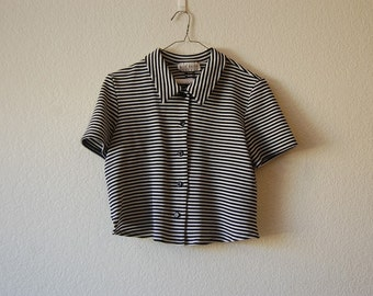 Cropped Button-Up Shirt with Unique Slit