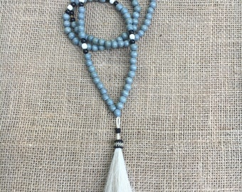 Blue dip dyed tassle necklace with gray wood beads