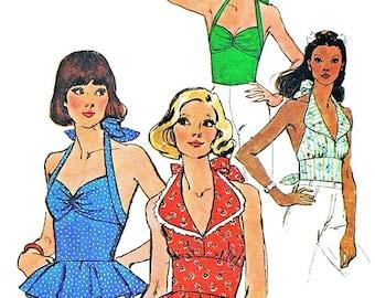Vintage 1974 Halter Top Sewing Pattern UNCUT Simplicity 6357 Miss Size 10
