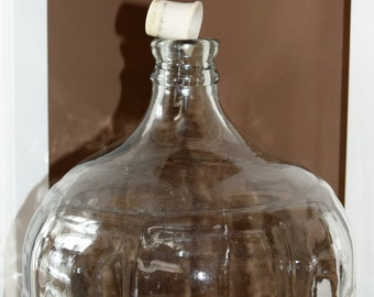 Vintage Glass Carboy 4 gallon Bottle with original rubber bung - Circa 1970s