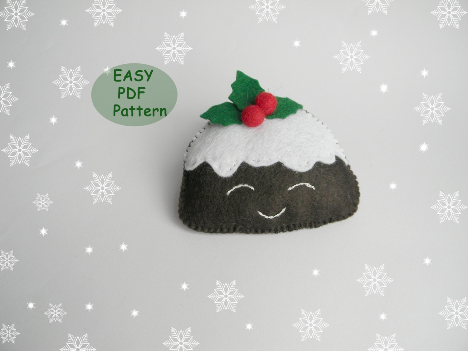 Pdf pattern felt christmas pudding easy christmas ornaments for Easy xmas pudding