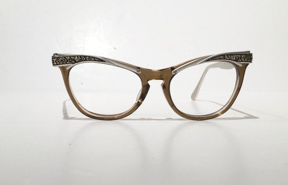 Vintage Eyeglass Frames New Old Stock : Vintage Combination Cat Eye Glasses Frames New Old Stock