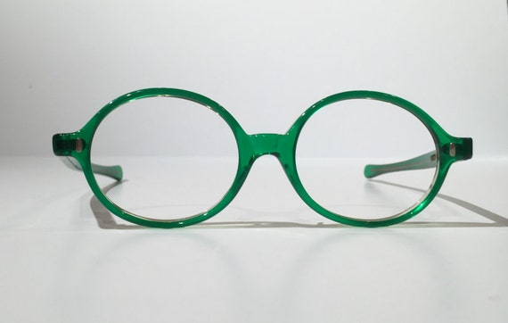 Vintage Green Glasses Frames NOS Vintage 60s 70s Solid Green