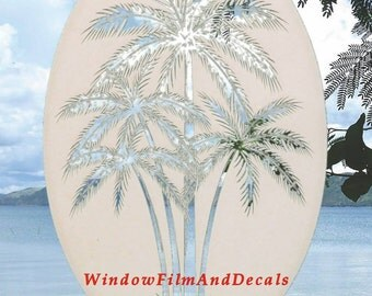 "Palm Trees Center Oval Static Cling Window Decal 26"" x 41"" - White w/Clear Design"