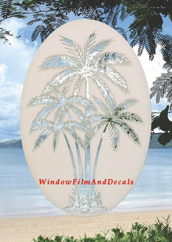 Palm Trees Center Oval Static Cling Window Decal 26 X