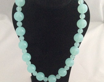 Two-beads blue necklace