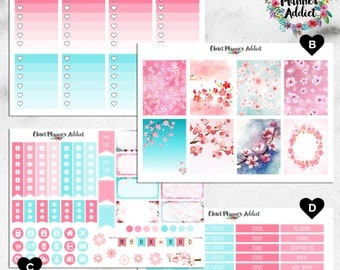 Vertical Weekly Kit Planner Stickers - Spring Cherry Blossoms | Boxes, MDN, Icons | For Use With Erin Condren Life Planner™ (EC-003)