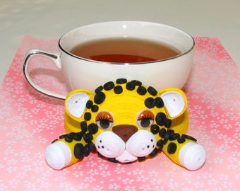 Coasters for drinks Leopard Stand for the cup Cup Stands Cup pad Kitchen's decoration Quilled safari animals Cup coaster 3D Quilling art