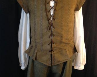 Men's Renaissance doublet with lace up front in olive, size medium.
