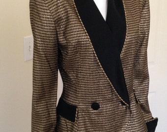 "80's Dinner Jacket Gold Lurex "" Smoking Jacket"", Fitted Tuxedo Jacket Black Gold Check Evening Jacket-Size 8-10"