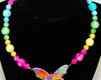 Butterfly neon necklace