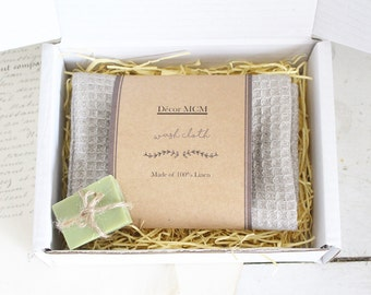 Linen Wash Cloth Gift Set - Small Linen Towel with 100% Olive Oil Soap Set