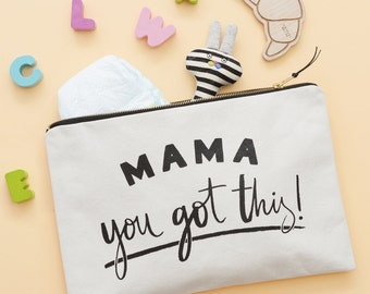 Travel Pouch For Mums - Gift For New Mum - Nappy Wallet - Mama You Got This - Large Canvas Zip Pouch - Alphabet Bags