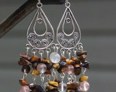 Tiger Eye and Rose Quartz Chandelier Earrings ~ Boho Chandelier Earrings ~ Natural Stone Earrings ~ Brown Stone Chandelier Earrings
