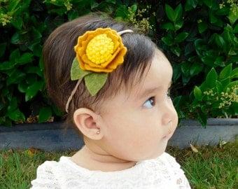 Felt Sunflower Headband   Modern Sunflower - Rustic Sunflower Headband