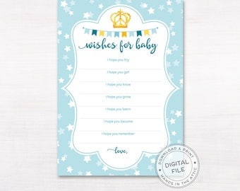 Baby shower wishes card, wishing well wishes for baby, messages to baby boy shower, DIGITAL printable download