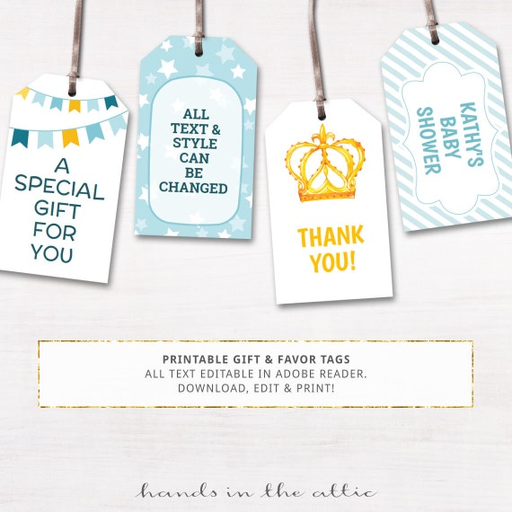 Printable baby shower gift tags editable party by for Baby shower label template for favors
