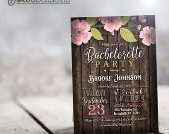 Rustic Pink & Green Bachelorette Party Invitation - Personalized Printable DIGITAL FILE