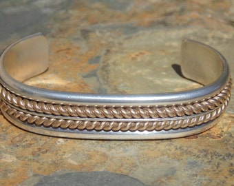 Tom Hawk ~ Navajo Sterling Cuff with Gold Filled Double Braid Center ~ 42 Grams