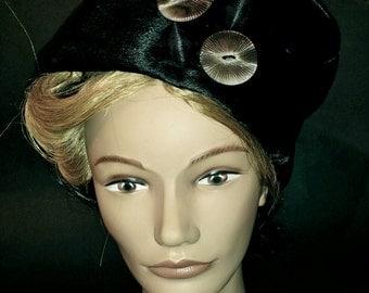 Vintage Black Cow Skin Pillbox Hat