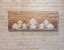Reclaimed Wood Wall Art, Wall Decor or Twin Headboard, Lath, Geometric, Mountains, Gradient
