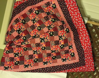 """Red and Black Flower, Dragon Fly, Lady Bug Quilt  64"""" x 78"""""""