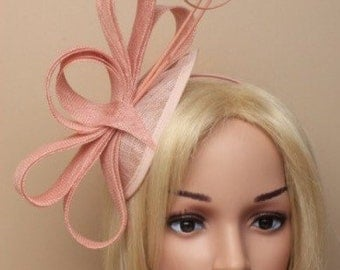 Stunning Dusky Pink Wedding Hat with Ostrich Quills, Facinator Headband, Head Piece, Mother of the Bride, Christening