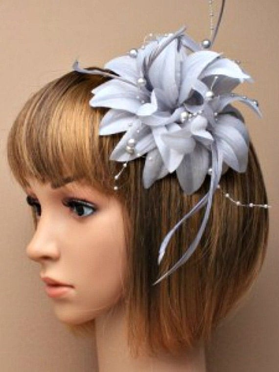 Silver Grey Hat Fascinator Flower Feather By Magicalmillinery