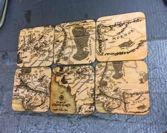 Map of Middle Earth Coasters  - Singles or Sets - Lord of the Rings - The Hobbit - Shire, Mordor, Gondor, Rohan