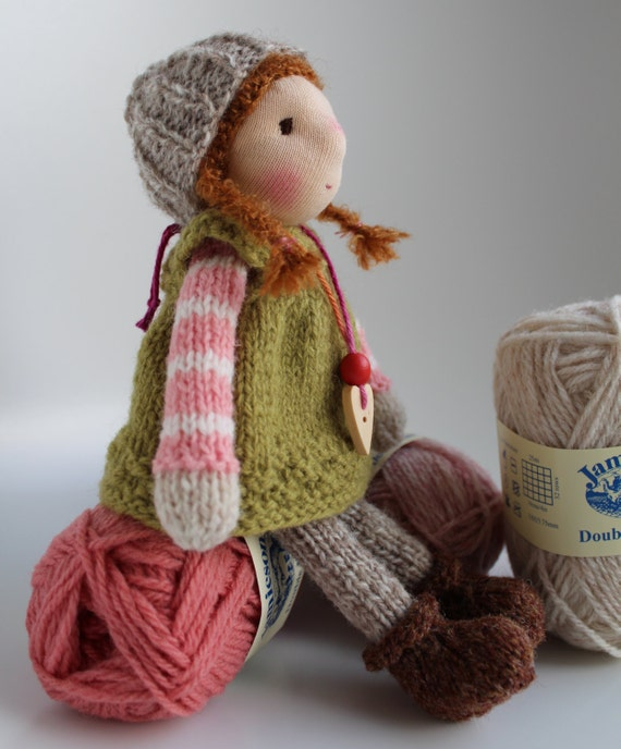 Knitting Patterns For Waldorf Dolls : Waldorf doll Waldorf knitted doll 8 inch / 20 cm Ronja