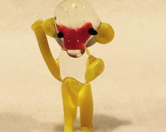 "Small Blown Glass Monkey - 7/8"" wide - 7/8"" deep - 1&1/2"" high - CA 1970's"