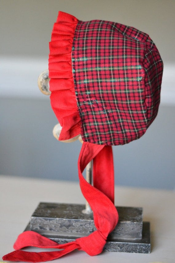 Reversible Red Corduroy and Metallic Plaid Bonnet by TheTipsyBunny