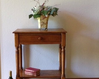 Antique Oak Side Table, Night Stand, End Table, One Drawer Table