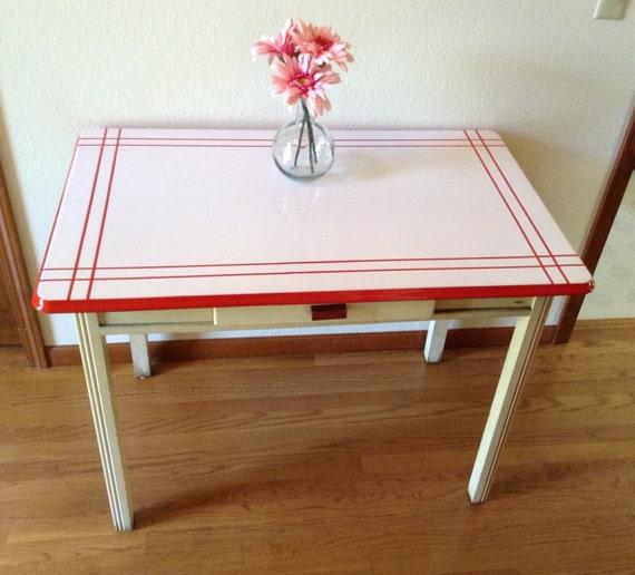 Vintage Enamel Top Kitchen Table: Hold For Barbara....Vintage Enamel Table Porcelain Top Table