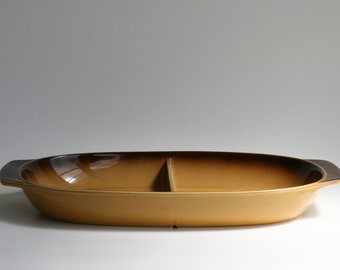 Divided baking dish - ovenproof made in Japan - retro ceramic oven dish