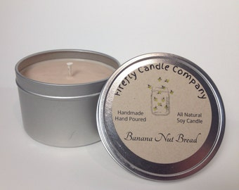 Banana Nut Bread Soy Candle All Natural Handmade Candle Holidays Candles 6oz