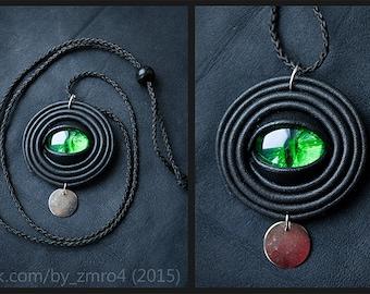 Handmade pendant with eye. Leather. Green eye, blue eye. Dragon eye.