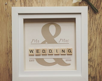 Wedding portraits frames etsy uk wedding scrabble frame scrabble wall art personalised wedding gift personalised frame negle Images
