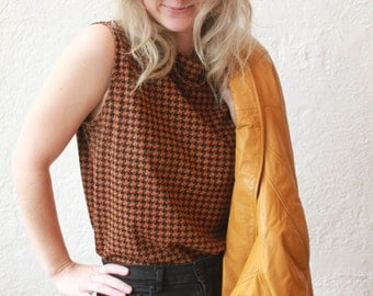 Brown Houndstooth Top