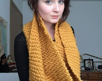 Pumpkin Twisted Cowl, Chunky Knit, Infinity Scarf