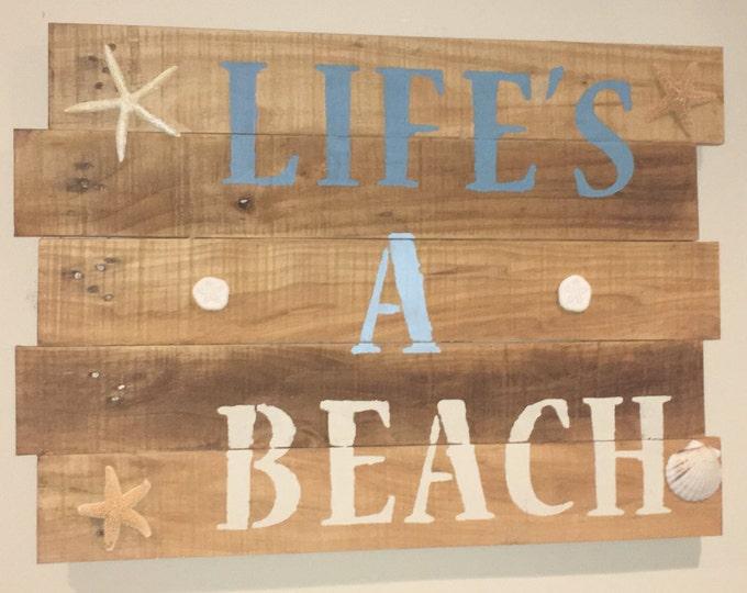 Life's a Beach Reclaimed Wood Wall Decor