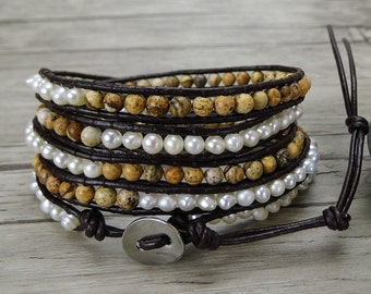 Picture Jasper & Pearl wrap bracelet beaded wrap bracelet Real pearl bracelet Boho bead bracelet yoga wrap bracelet pearl jewelry SL-0377