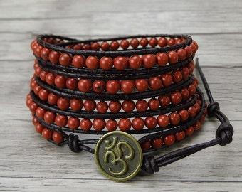 Red bead wrap bracelet Gemstone bead bracelet Boho wrap bracelet Yoga bead bracelet Bohemian bracelet Gypsy wrap bracelet Jewelry SL-0010