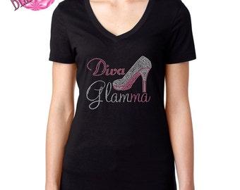 Diva Glamma, Glamma Gift,  Glamma shirt, Gift for New Grandmother, Grandma Tee, Glam-ma Bling T-Shirt, Mother's Day Gift