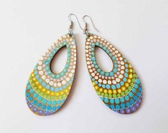 Dot Art Earrings Jewelry, Christmas Gift, Boho Hippie Earrings, Yoga Dangle long Earrings, OOAK Handpainted earrings Blue Colorful Earrings